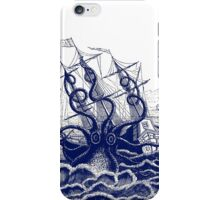 Kraken Octopus attacking ship engraving illustration iPhone Case/Skin