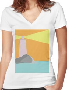 Lighthouse Geometric Abstract Women's Fitted V-Neck T-Shirt