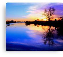 River in flood at sunset Canvas Print