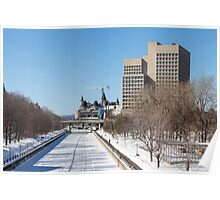 Ottawa's Rideau Canal in winter Poster