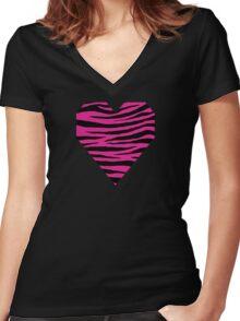 0152 Barbie Pink Tiger Women's Fitted V-Neck T-Shirt