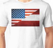 Half Austrian Half American Flag Unisex T-Shirt