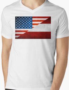 Half Austrian Half American Flag Mens V-Neck T-Shirt
