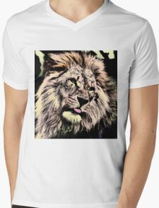 LION-123 Mens V-Neck T-Shirt