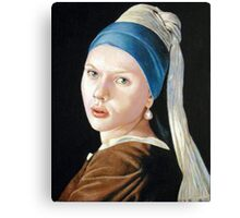 Scarlett Johansson with the pearl earring Canvas Print
