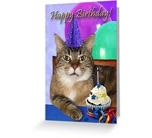 Birthday Striped Tabby Cat Greeting Card
