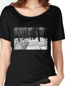 Winter Boardwalk In Black And White Women's Relaxed Fit T-Shirt