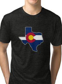 Texas outline Colorado flag Tri-blend T-Shirt