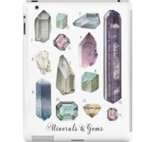 Gemstones and Minerals art print | Watercolor gemstones and crystals | Hand painted  semi precious stones | geology decor Printable wall art iPad Case/Skin