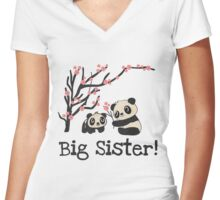 Panda Bears Big Sister Women's Fitted V-Neck T-Shirt