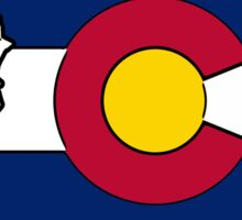 Washington outline Colorado flag Sticker