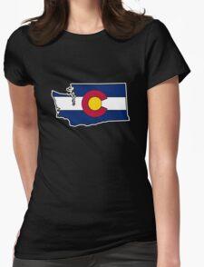 Washington outline Colorado flag Womens Fitted T-Shirt