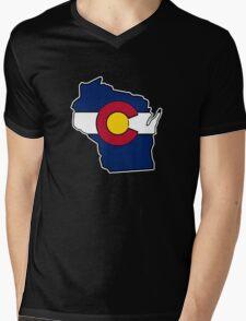 Wisconsin outline Colorado flag Mens V-Neck T-Shirt