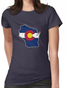 Wisconsin outline Colorado flag Womens Fitted T-Shirt