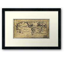 053  Map of the world on the Mercator projection Framed Print