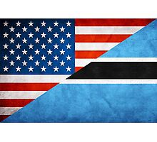 Half Botswana Half American Flag Photographic Print