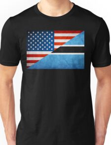 Half Botswana Half American Flag Unisex T-Shirt