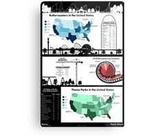 United States Rollercoaster & Theme Park Infographic Metal Print