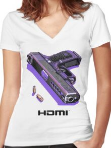 Bones Pixel Gun Women's Fitted V-Neck T-Shirt