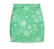 White Floral on Green. Mini Skirt