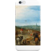 Jan Brueghel The Elder  An extensive Landscape with travellers on a Road iPhone Case/Skin