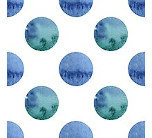 seamless watercolor pattern with drops in blue and green color.  Photographic Print