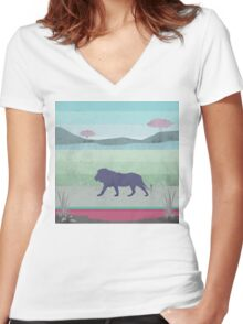 Lions are big kitties Women's Fitted V-Neck T-Shirt