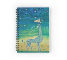 Funny giraffe meet aliens.Funny communication illustration. Kids style hand drawn illustration. Spiral Notebook