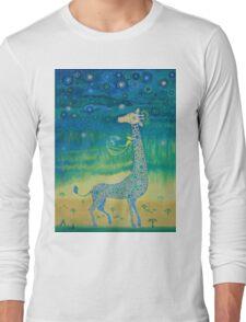 Funny giraffe meet aliens.Funny communication illustration. Kids style hand drawn illustration. Long Sleeve T-Shirt