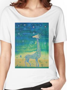 Funny giraffe meet aliens.Funny communication illustration. Kids style hand drawn illustration. Women's Relaxed Fit T-Shirt