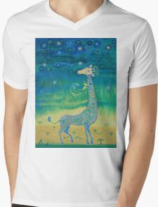 Funny giraffe meet aliens.Funny communication illustration. Kids style hand drawn illustration. Mens V-Neck T-Shirt