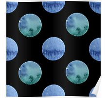 seamless watercolor pattern with drops in blue and green color.  Poster