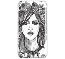 Beautiful woman with roses wreath. Black and white hand drawn illustration. iPhone Case/Skin