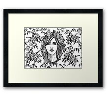 Beautiful woman with roses wreath. Black and white hand drawn illustration. Framed Print