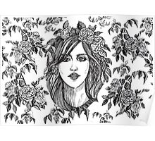 Beautiful woman with roses wreath. Black and white hand drawn illustration. Poster