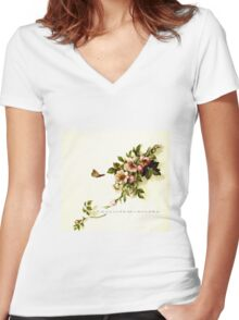 Wild rose blossoms Women's Fitted V-Neck T-Shirt
