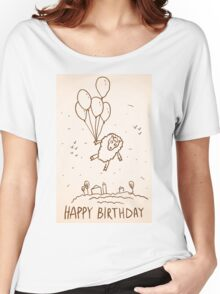 Funny sheep with balloons Women's Relaxed Fit T-Shirt