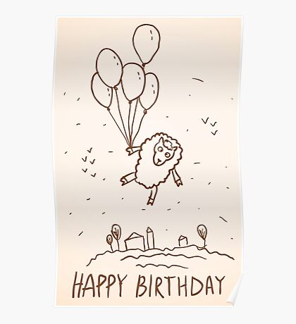 Funny sheep with balloons Poster