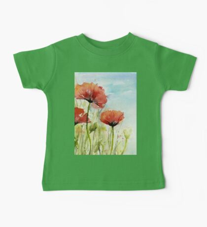 Red Poppy Watercolor Baby Tee