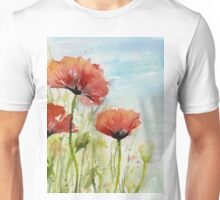 Red Poppy Watercolor Unisex T-Shirt
