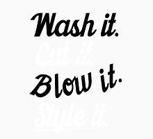 Hairdresser: Wash it. cut it. blow it. style it. Women's Fitted Scoop T-Shirt