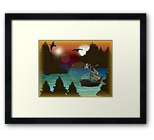 Pirate Ship Moonlight Voyage  Framed Print