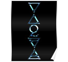 FOUR ELEMENTS PLUS ONE V  - blue chrome Poster