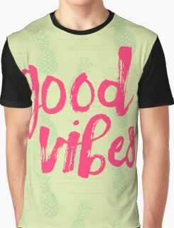 Good Vibes // Retro Vintage Green Pineapple Typography Poster and Pattern Graphic T-Shirt