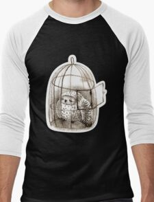 Great Grey Owl Sleeping In a Birdcage Men's Baseball ¾ T-Shirt