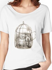 Great Grey Owl Sleeping In a Birdcage Women's Relaxed Fit T-Shirt