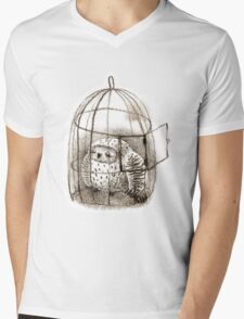 Great Grey Owl Sleeping In a Birdcage Mens V-Neck T-Shirt