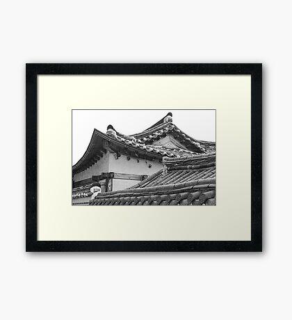 Architecture Of Bukchon Hanok Village BW Framed Print