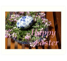 happy easter egg and flowers Art Print