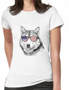 Wolf Patriot Womens Fitted T-Shirt